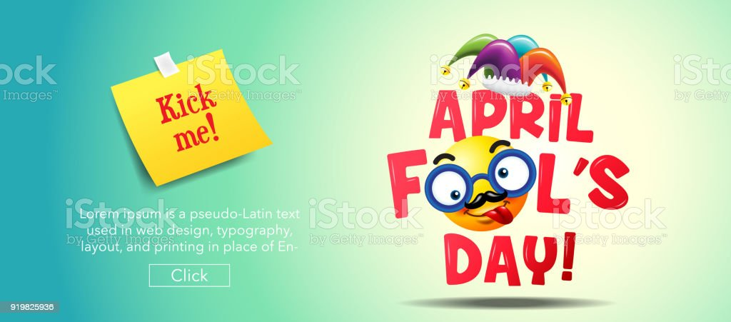 April fool's day, Typography, Colorful vector art illustration