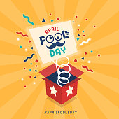 April fool's day design with explosive prank box and confetti