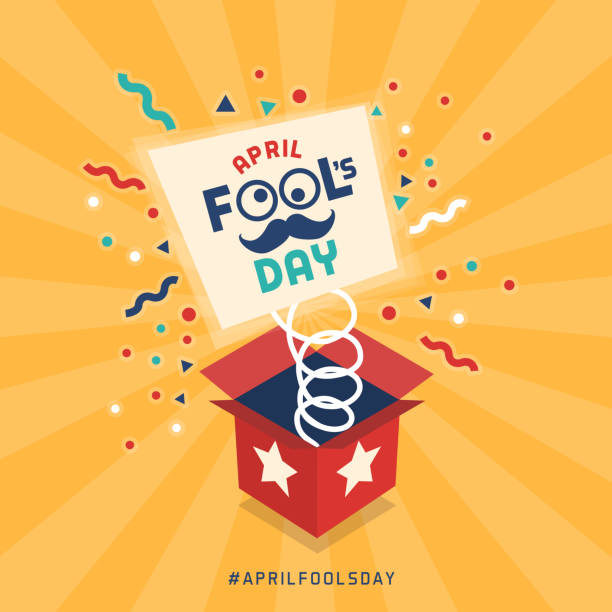 April fool's day April fool's day design with explosive prank box and confetti april fools day stock illustrations