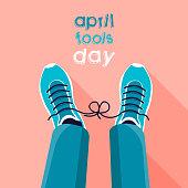 April fool's day. April Fool's joke concept. Tied shoelaces. Flat vector illustration.