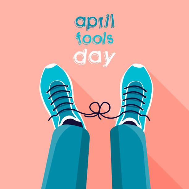 April fool's day. April fool's day. April Fool's joke concept. Tied shoelaces. Flat vector illustration. april fools day stock illustrations