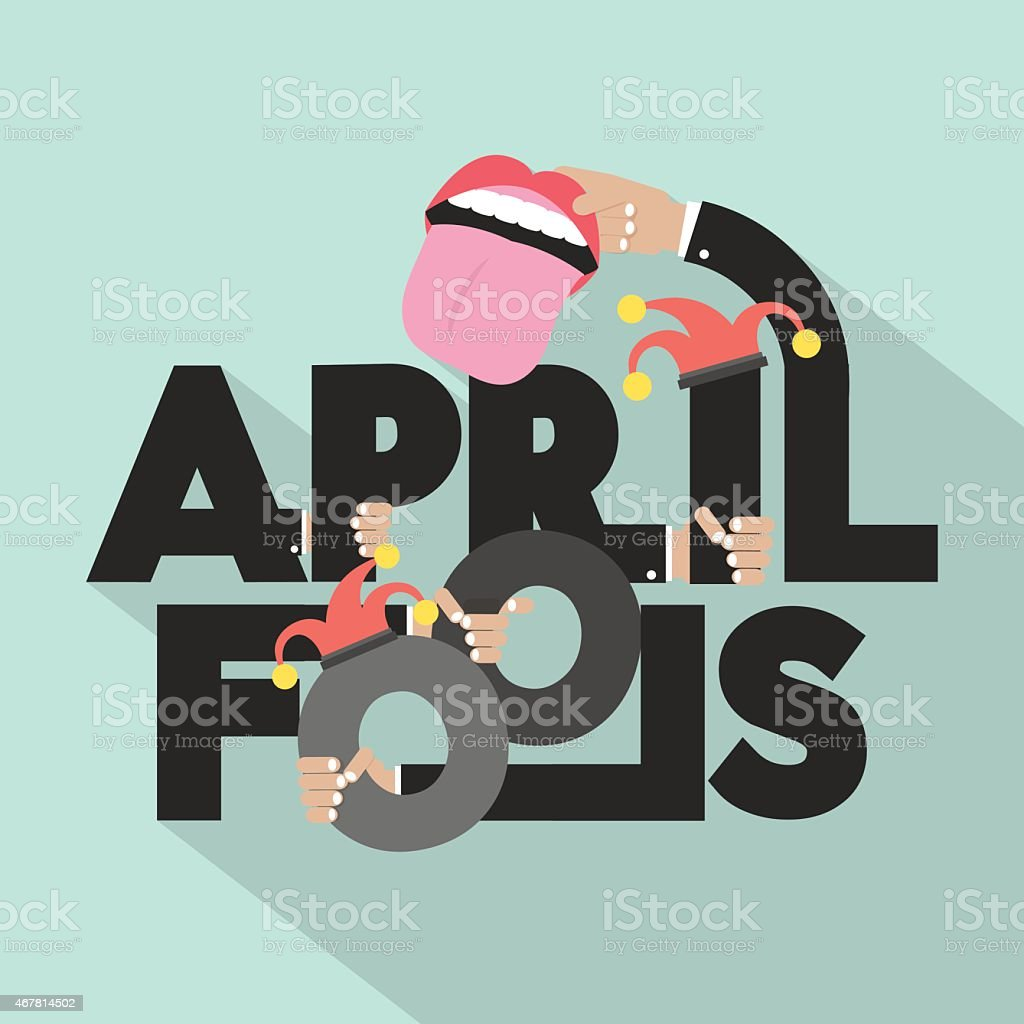 April Fools Typography Design vector art illustration