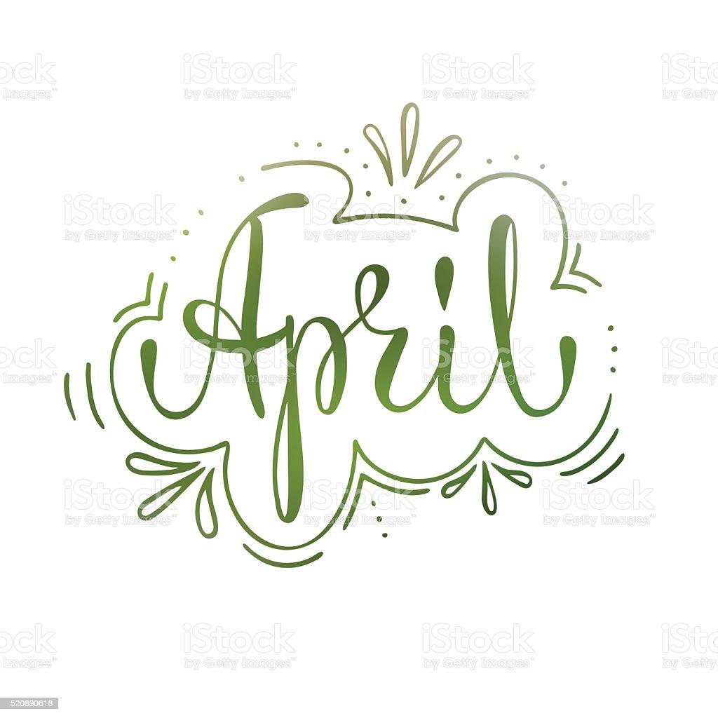 April lettering. vector art illustration