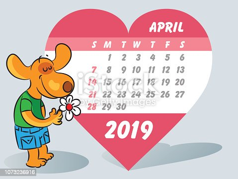 istock April month and emotional dog holding flowers in hand 1073236916