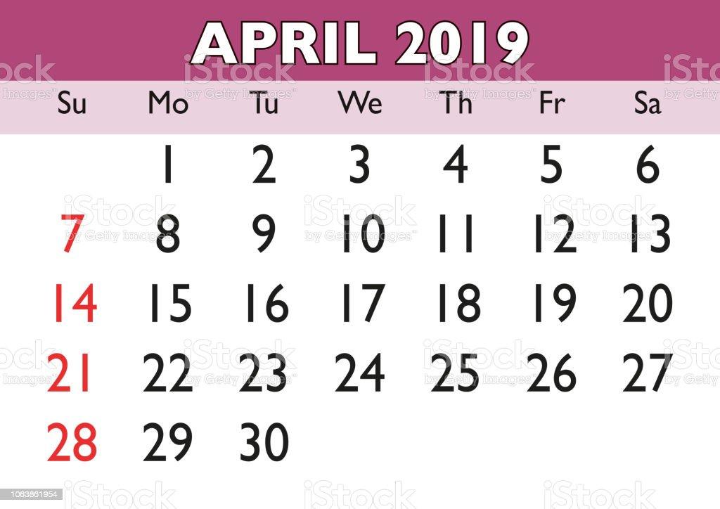 Calendario Fin De Semana 2019.Ilustracion De Mes De Abril Calendario 2019 Ingles Usa Y Mas