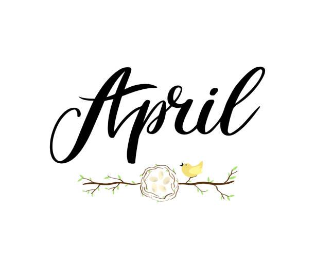 bildbanksillustrationer, clip art samt tecknat material och ikoner med april månadsnamn. handskrivna bokstäver med gren av träd, häckar med ägg och fågel. symbol för påsk. säsongen vektor som affisch, vykort, gratulationskort, inbjudan mall. begreppet april reklam - spain solar