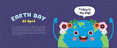 "Happy Earth Day banner or copy space. Cute cartoon Earth with speech bubble ""today is my day"" on starry background. 22 april, Mother Earth Day vector illustration."