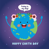 "Mother Earth Day greeting card. Cute cartoon Earth with speech bubble ""today is my day"" on starry background. 22 april, Happy Earth Day vector illustration."