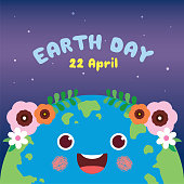 Mother Earth Day greeting card. Cute cartoon Earth on starry background. 22 april, Happy Earth Day vector illustration