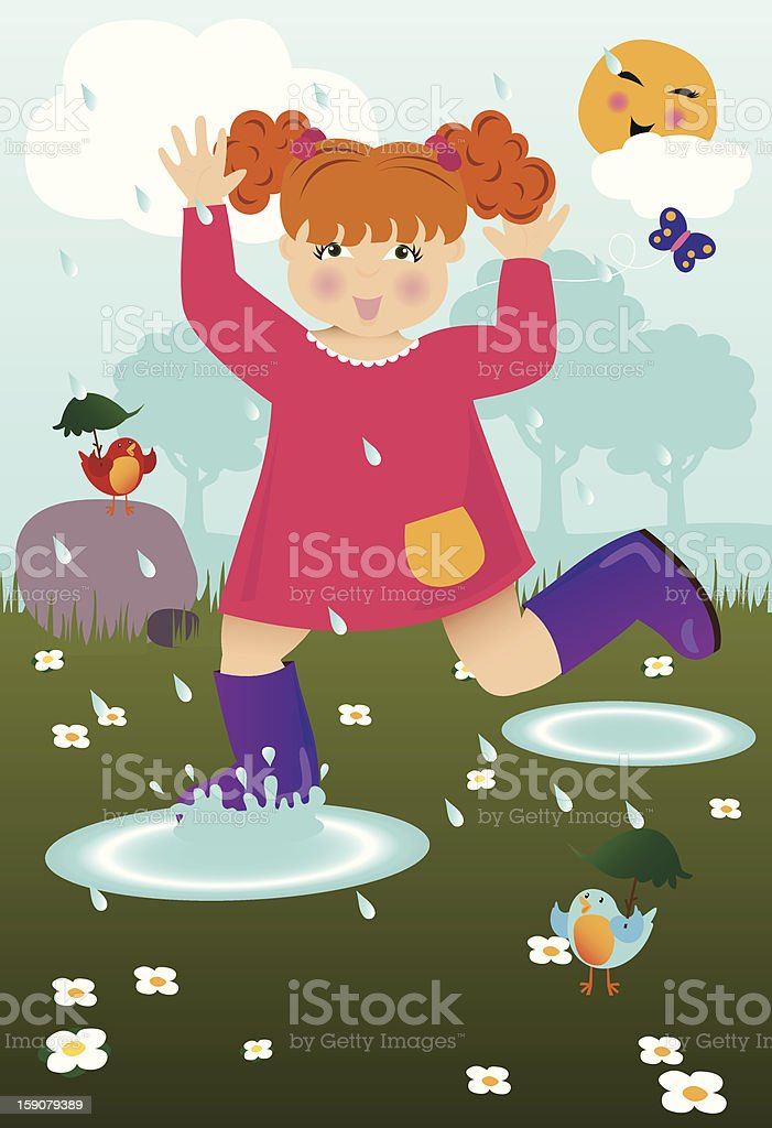 April Showers Bring Fun! vector art illustration