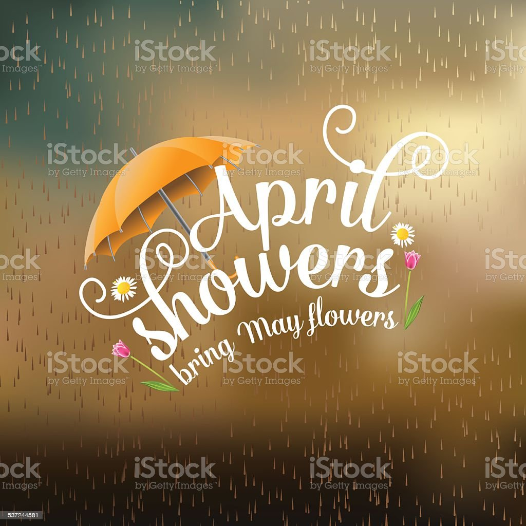April showers bring May flowers design vector art illustration