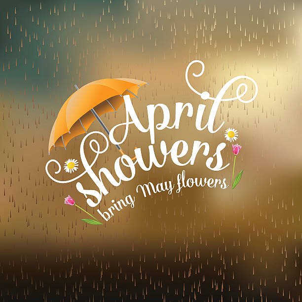 april showers bring may flowers design - rain stock illustrations, clip art, cartoons, & icons