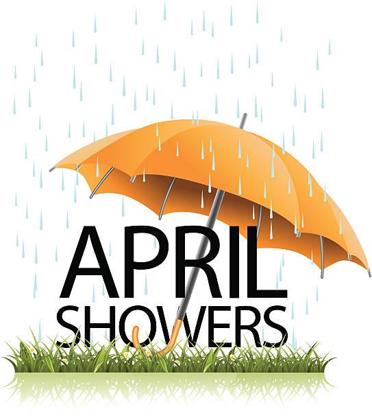 stockillustraties, clipart, cartoons en iconen met april showers umbrella - bloemen storm