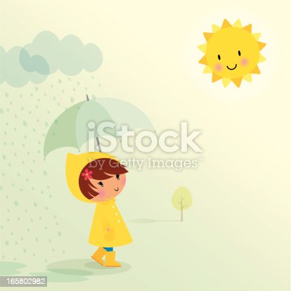 Little girl in the rain. EPS 10 file. Some transparencies used. All elements are grouped and layered.