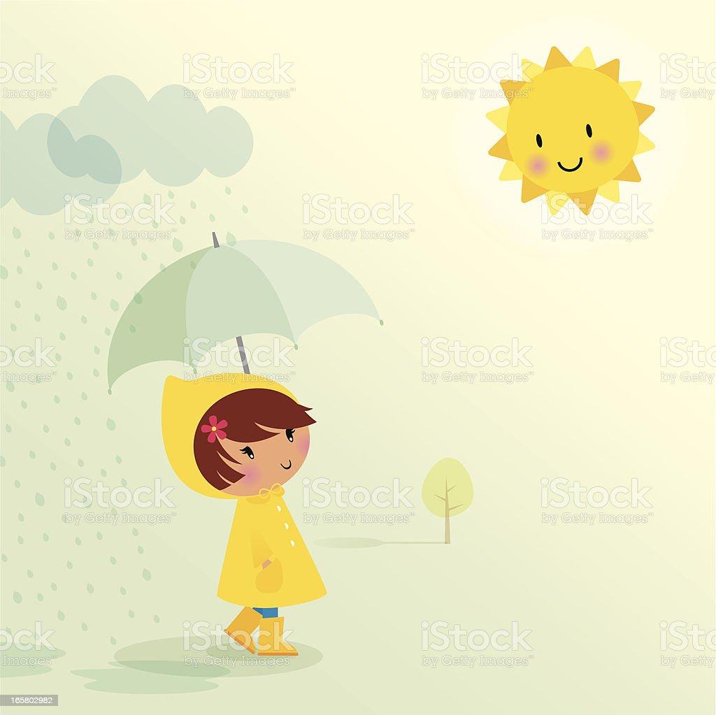 April showers vector art illustration