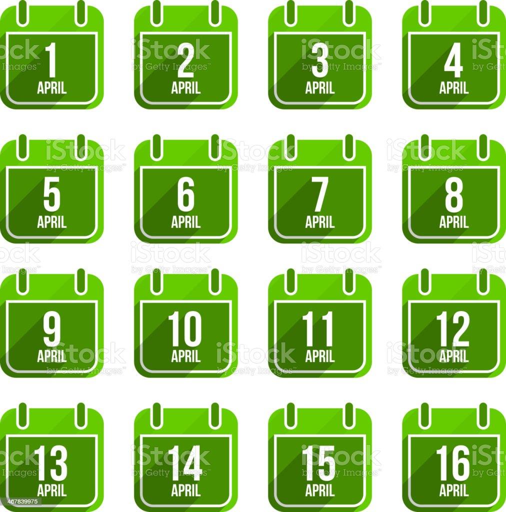 April vector flat calendar icons. Days Of Year Set 13 vector art illustration