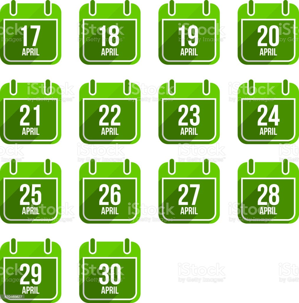 April vector flat calendar icons. Days Of Year Set 14 royalty-free april vector flat calendar icons days of year set 14 stock illustration - download image now