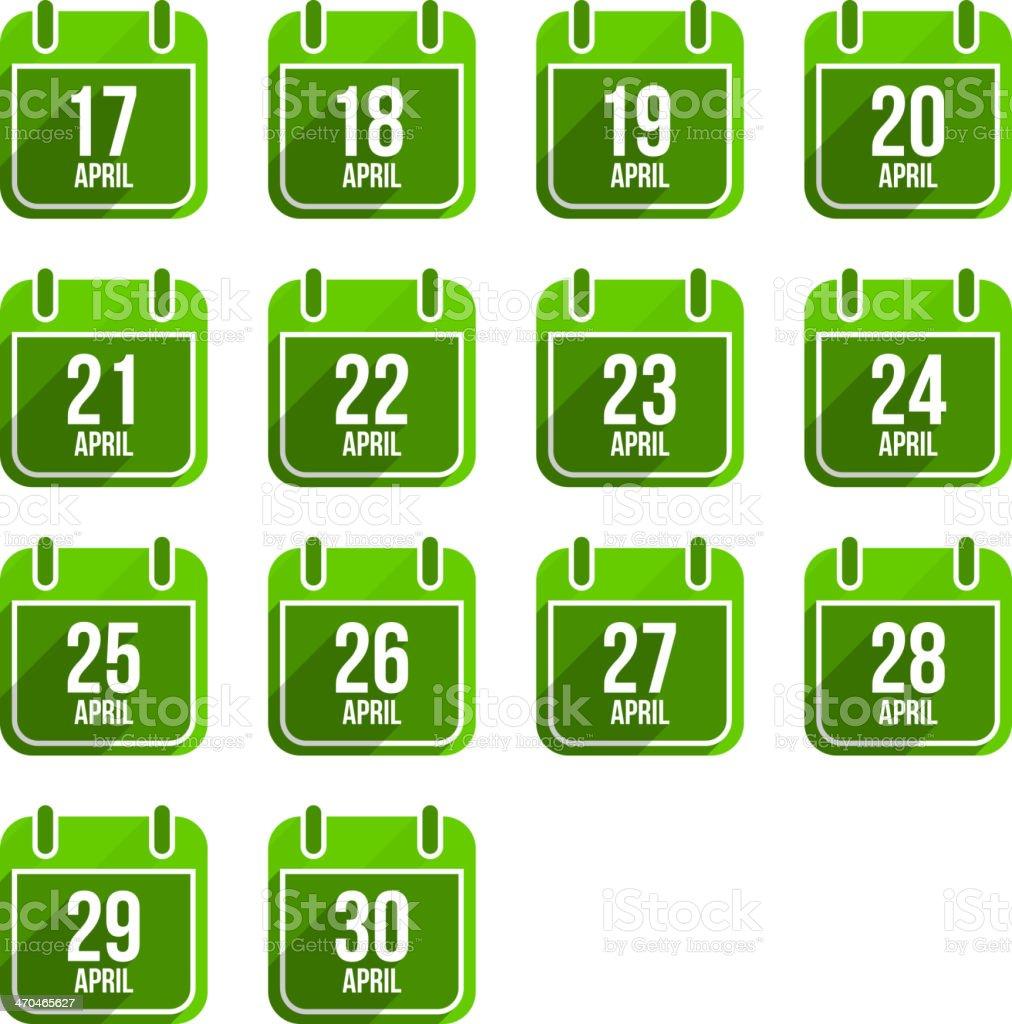 April vector flat calendar icons. Days Of Year Set 14 vector art illustration
