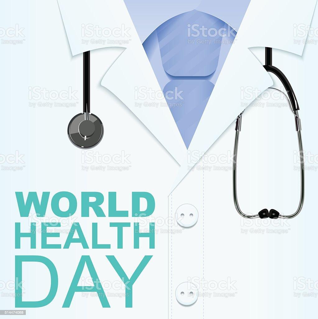 7 de abril de día mundial de la salud. Texto para tarjeta de felicitación - ilustración de arte vectorial
