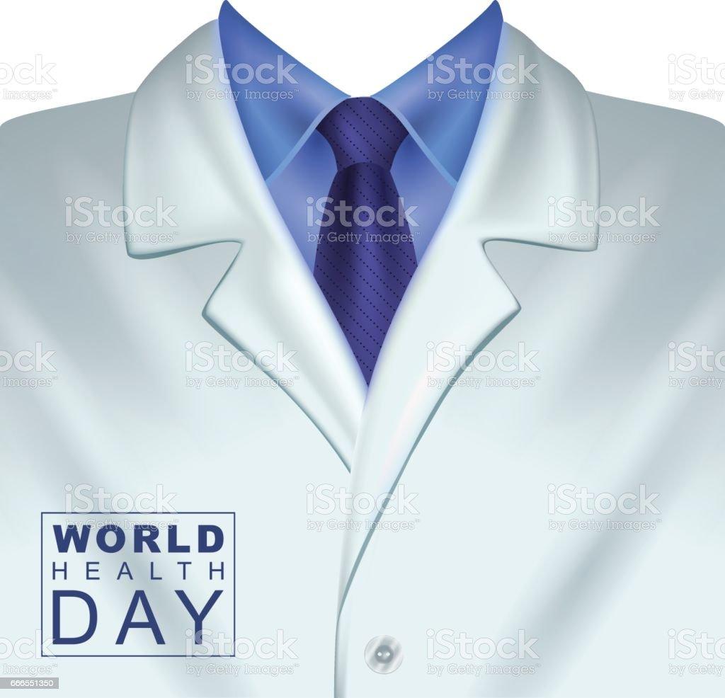 7 de abril Día Mundial de la salud. Capa blanca de los médicos - ilustración de arte vectorial