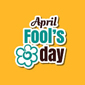 April fools day. Funny sticker for 1st April. Vector illustration