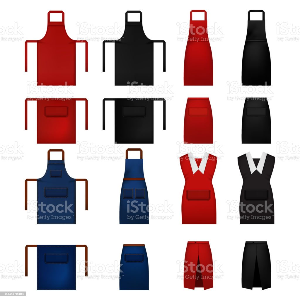 Apron cooking chef mockup set, realistic style