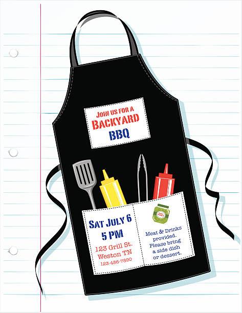 Barbecue grembiule invito su carta foderata - illustrazione arte vettoriale