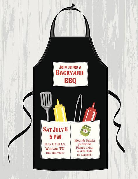 Grembiule invito barbecue - illustrazione arte vettoriale