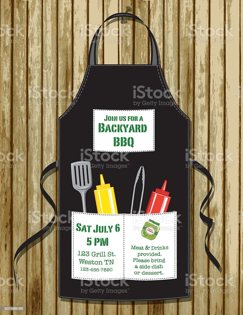 BBQ Apron Invitation vector art illustration