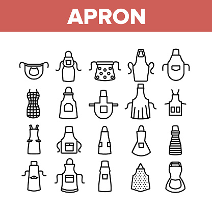 Apron Kitchen Cloth Collection Icons Set Vector