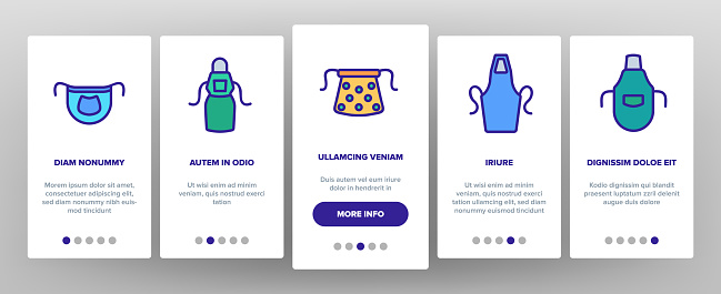 Apron Kitchen Cloth Onboarding Icons Set Vector