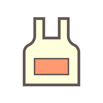 Apron or bib apron vector icon. Uniform, workwear or garment to cover front of body for chef working, cooking or preparing food in kitchen, restaurant. To protection from danger i.e. acid and heat.