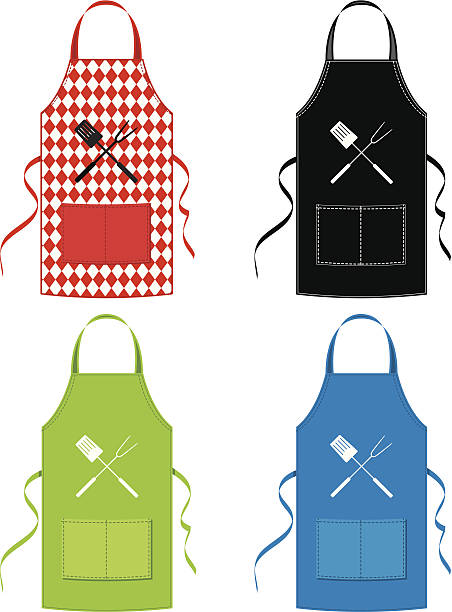 BBQ Apron Set BBQ Apron Set apron stock illustrations