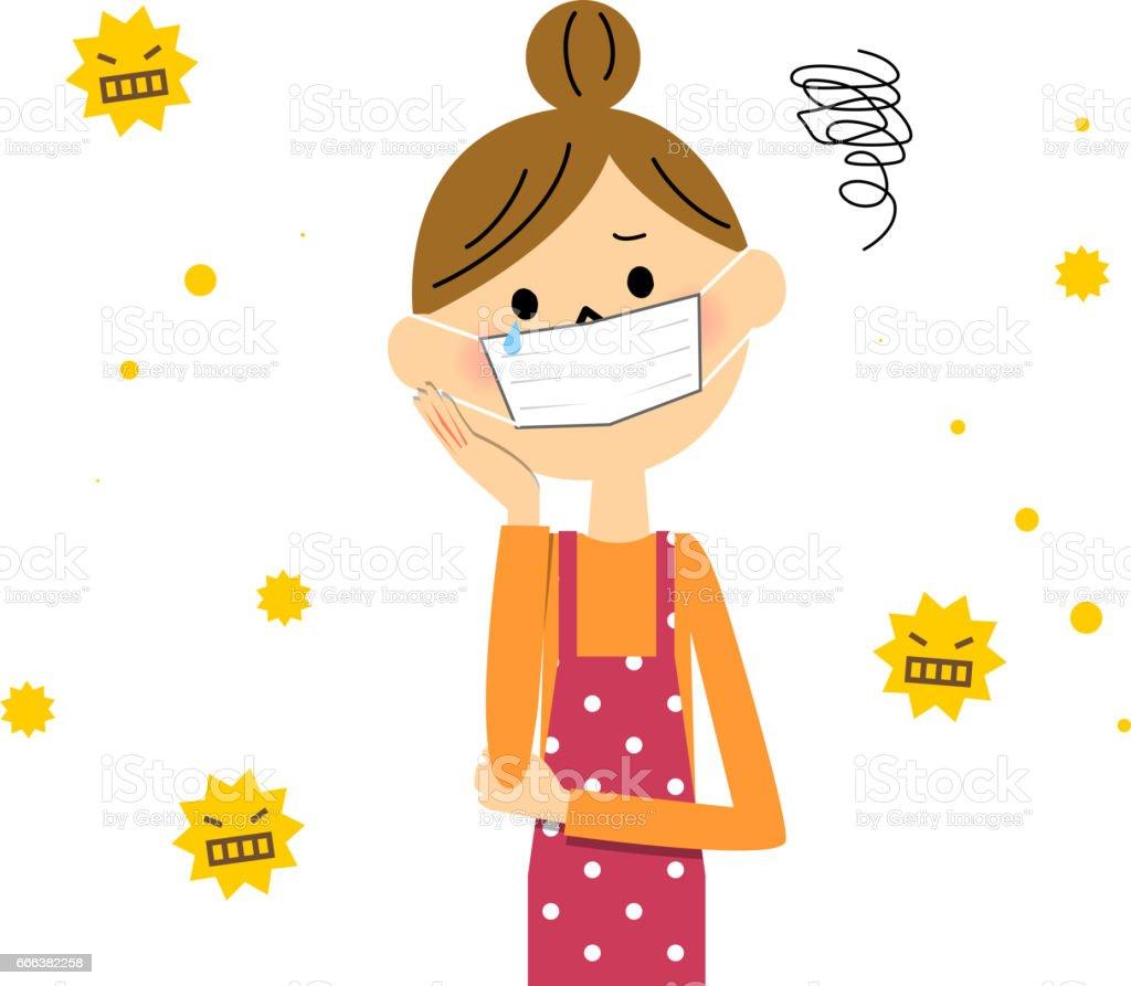 Apron woman,Hay fever vector art illustration