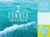 Aqua and green summer beach themed set of elements