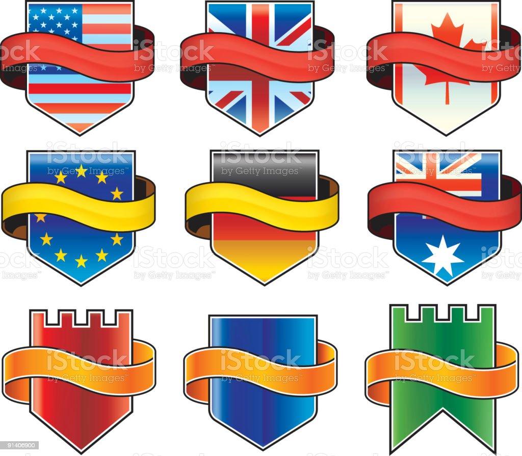 Aqua banner shields royalty-free stock vector art