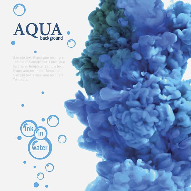 Aqua de tinta azul en el agua con burbujas plantilla - ilustración de arte vectorial