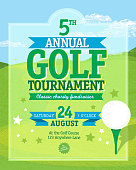 Vector illustration of golf tournament invitation layout or poster advertisement design template. Green and light blue color themes.  Includes sample text design elements, golf tee, and golf green background. Perfect for golf outing, tournament, golf course advertisement poster and charity sporting event. See my portfolio for other invitations and golf concepts.