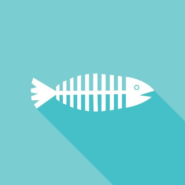 aqua fish icon - animal bone stock illustrations
