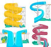 Aqua park water slides isolated set