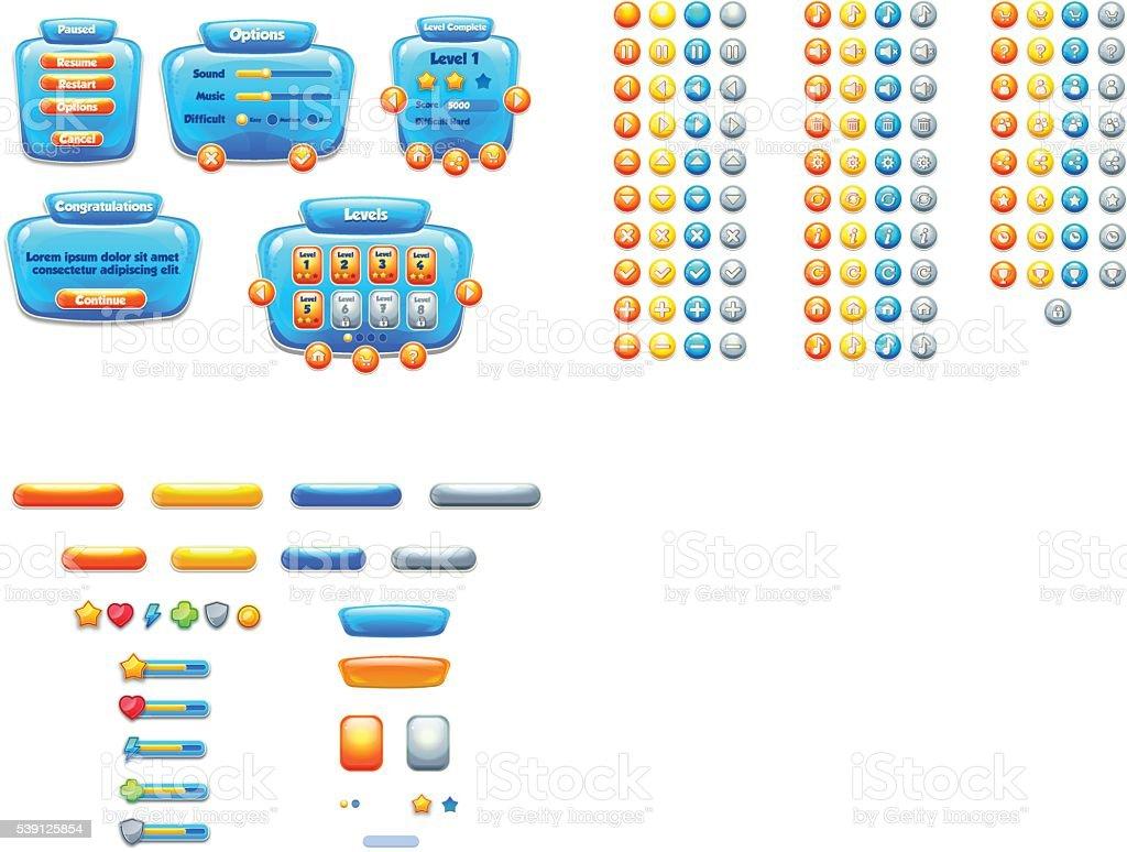Aqua style GUI pack vector art illustration