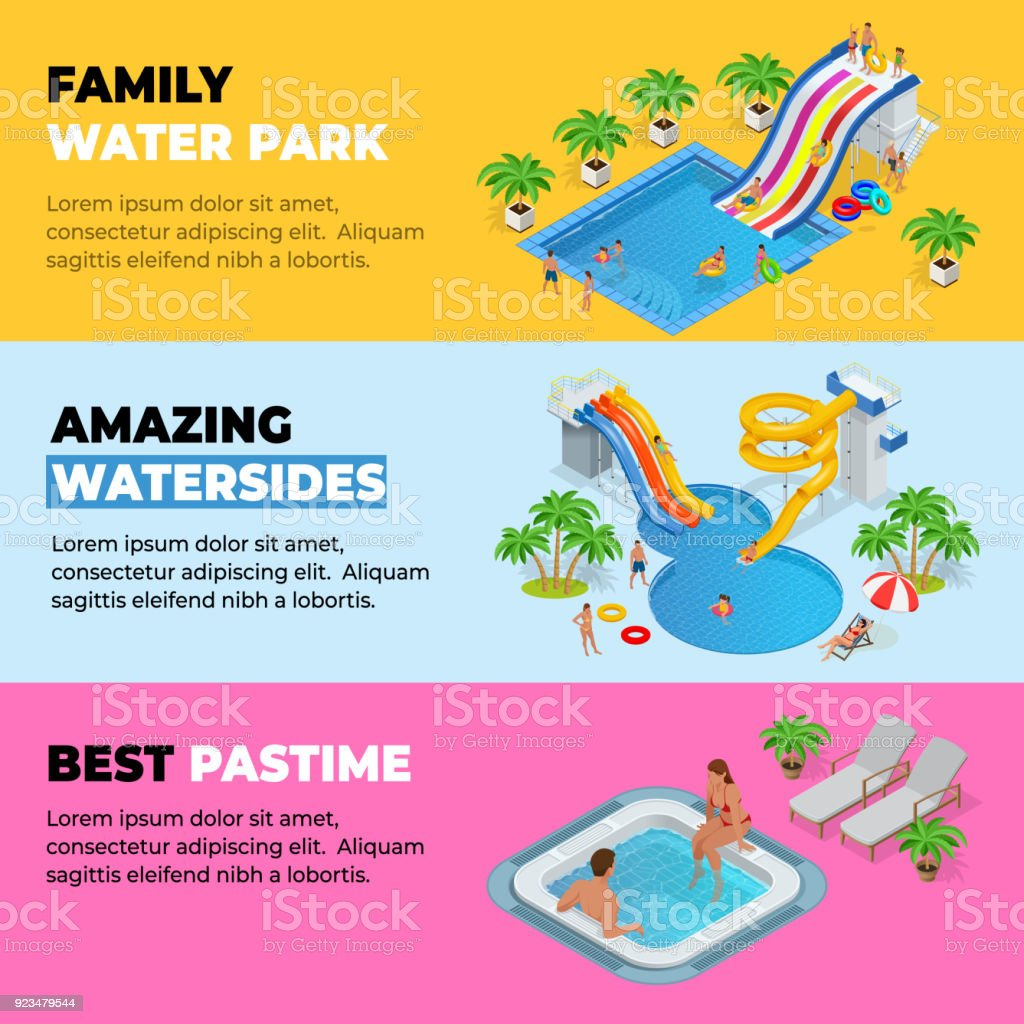 Aquapark horizontal web banners with different water slides, family water park, hills tubes and pools isometric vector illustration. design for web, site, advertising, banner, poster, board and print vector art illustration