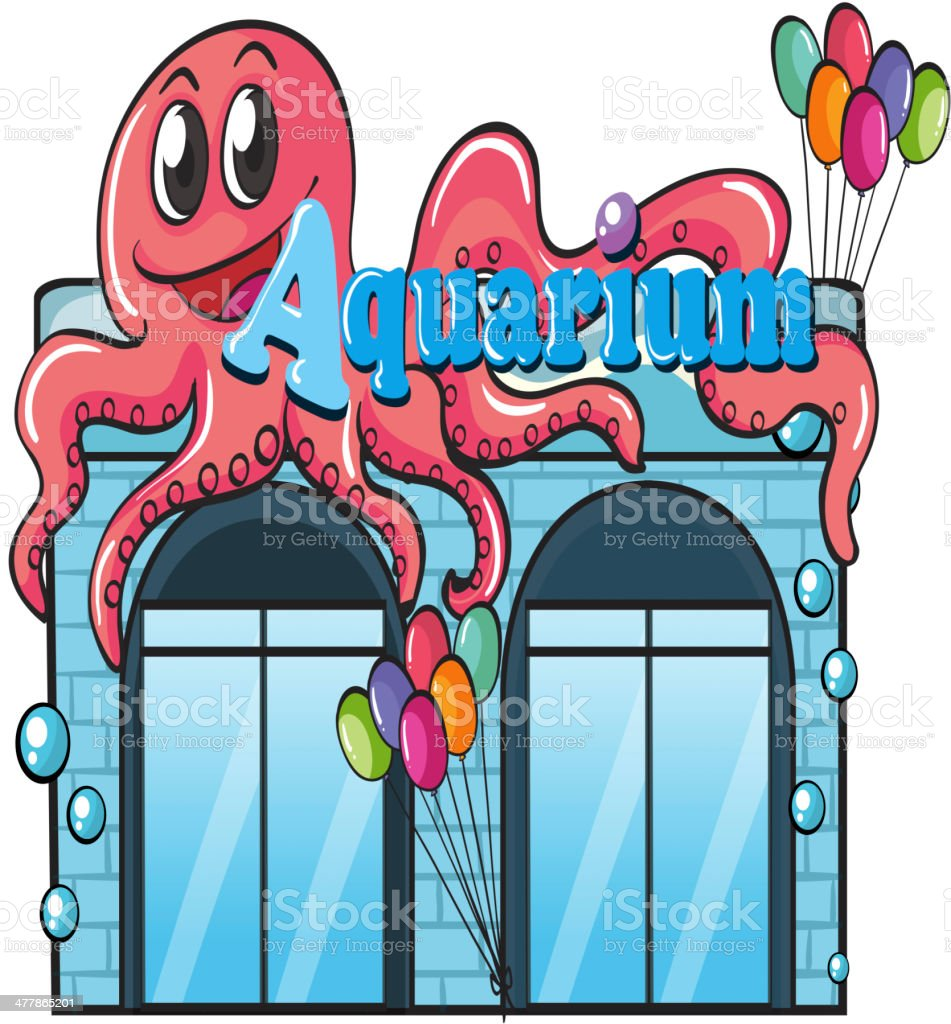 Aquarium and octopus royalty-free stock vector art