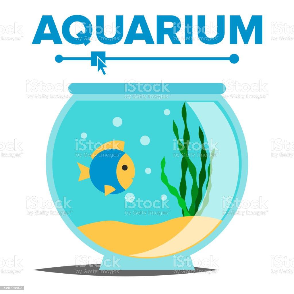 Vecteur de dessin animé aquarium réservoir de poissons maison de verre bocal à poissons