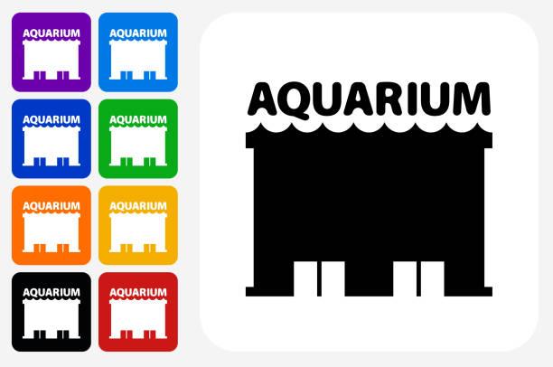 水族館アイコン広場ボタン セット - 水族館点のイラスト素材/クリップアート素材/マンガ素材/アイコン素材