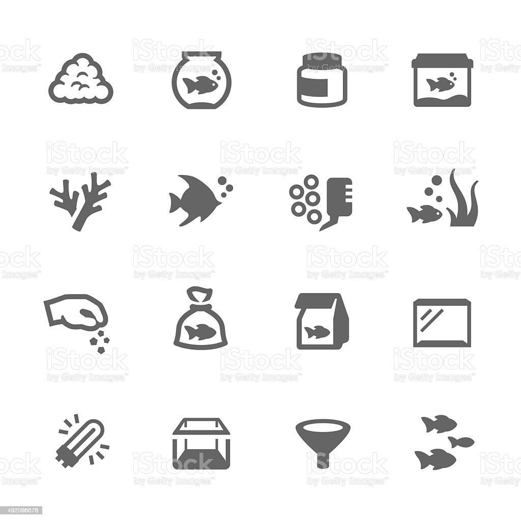 Aquarium Icons vector art illustration