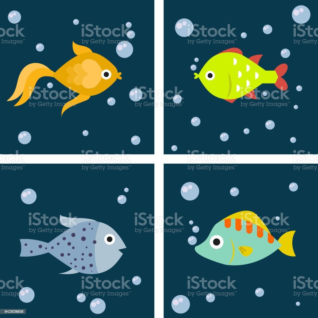 aquarium ocean fish underwater cards bowl tropical aquatic animals