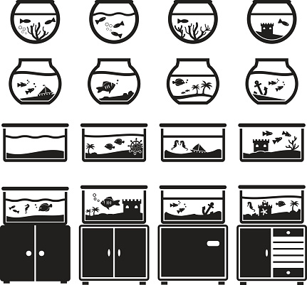 Aquarium vector icon set, black isolated on white background, bowl and square, on cupboard