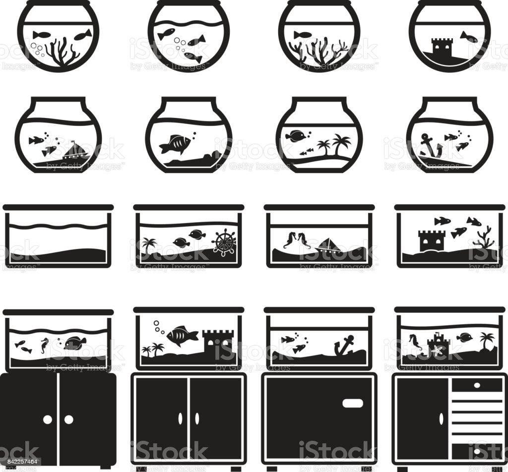 수족관 벡터 아이콘 세트, 검정 흰색 배경, 그릇과 찬에 광장에 고립 벡터 아트 일러스트