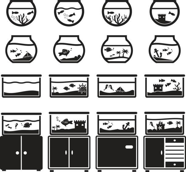 水族館ベクター アイコン セット, ブラック ホワイト バック グラウンド、ボウル、食器棚の正方形上に分離 - 水族館点のイラスト素材/クリップアート素材/マンガ素材/アイコン素材